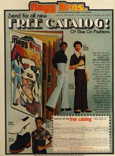 1970's 'spectacular suits bold and buckled double knit slacks'. #Fashion #crime #mockery #hilarity Flagg Brothers Couture