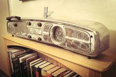 VW dash, clock in speedo, working radio w/ converter, glove box storage, lights in one of the speaker grills.