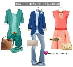 Monochromatický vzhľad - viacero odtieňov danej farby (malý až stredný kontrast)