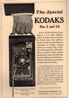 """1911 """"Country Life in America"""" magazine ad for """"The Special Kodaks Nos. 3 and 3A."""""""