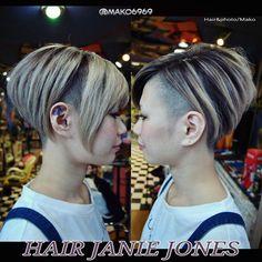 My works HAIR JANIE JONES hair style guest:sayu #shortbob #bobcut #刈り上げ #前下がりボブ
