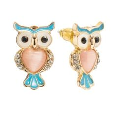 LC Lauren Conrad Gold Tone Simulated Crystal Owl Stud Earrings