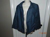 womens chambray blue TALBOTS open blazer jacket 100% LINEN casual modern 14 NWOT