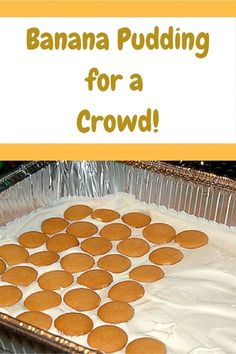 Banana Pudding for a Crowd! This recipe will cover dessert for all your friends … Banana Pudding for a Crowd! This recipe will cover dessert for all your friends and family at your next barbecue. Easy and delicious! Potluck Desserts, Mini Desserts, Potluck Dishes, Desserts For A Crowd, Cooking For A Crowd, Party Desserts, Fall Desserts, Delicious Desserts, Dessert Recipes