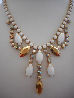 Vintage White Milk Glass Aurora Borealis & Gold Colored Rhinestone Necklace