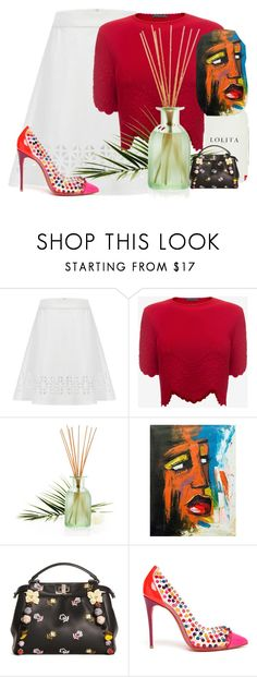 """""""come"""" by hanii-omachiss ❤ liked on Polyvore featuring Alexander McQueen, Pier 1 Imports, NOVICA, Fendi and Christian Louboutin"""