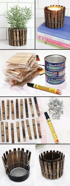 DIY FLOWER POTS :: Clothespin Plant Pot or Candle Holder Tutorial :: Just stain your clothespins w/ a walnut stain pen & clip them to a tuna can wrapped with electrical tape!