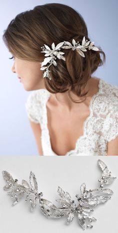 Gorgeous! This nature inspired wedding hair clip elegantly hugs this bridal side bun <3