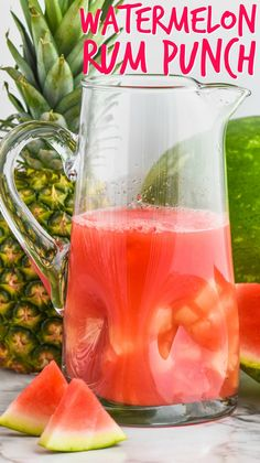 This Watermelon Rum Punch is only a few easy ingredients for a big pitcher of this refreshing rum punch cocktail!
