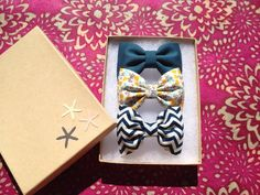 Winter teal, yellow and blue floral, and Blue chevron Seaside Sparrow hair bows. Perfect gift from Seaside Sparrow bows. on Etsy, $11.00