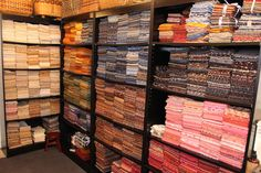 My Half Yard Collection.Lisa Bongean I wish I had that much and a place to store it Sewing Room Storage, Sewing Room Organization, Craft Room Storage, Fabric Storage, Craft Rooms, Quilting Blogs, Quilting Room, Sewing Spaces, Sewing Rooms