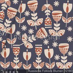 Russische Folklore Blumen Jersey - versandkostenfrei ab 0,5m