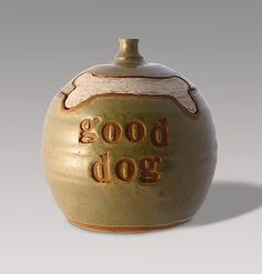 Good Dog Treat Jar by Louise Bilodeau. Doggies come running when they hear you open this jar. Hand thrown and hand stamped treat jar made of durable cone 6 clay. Ceramic Cookie Jar, Ceramic Jars, Ceramic Clay, Cookie Jars, Best Treats For Dogs, Dog Treats, Best Dogs, Dog Treat Jar, Pottery Handbuilding