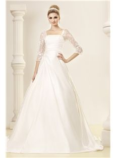 Elegant A-line Square Half-Sleeves Dasha's Wedding Dress & modern Wedding Dresses