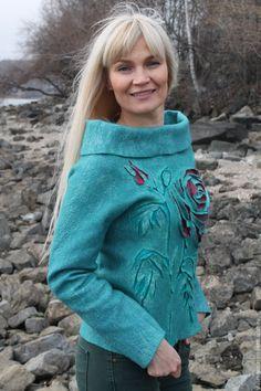 Купить Свитер валяный Любимые розы 2 - морская волна, цветочный, свитер валяный