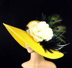 DERBY Hat with Peacock Feathers Tea Party Hat Wedding Hat Dress Hat Yellow Hat Kentucky Derby Hat  Wide Brim Hat Horse Race Ascot. $78.99, via Etsy.