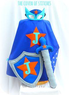 Boys Personalised Superhero Set Costume inc, cape, mask, shield and sword * made from felt * Easy Book Week Costumes, Diy Costumes For Boys, Boy Costumes, Super Hero Costumes, Halloween Costumes, Superhero Dress Up, Superhero Costumes Kids, Superhero Capes, Kids Cheetah Costume