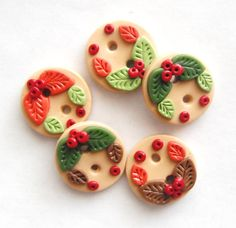 Button Tiny Leaves and Berries handmade polymer clay buttons ( 5 ) on Etsy, $7.00