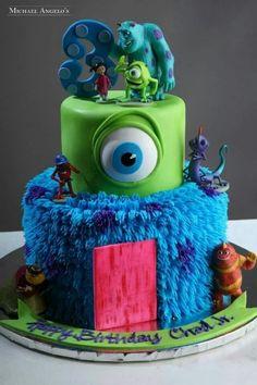 Monsters Inc Cake Monster University Cakes, Monster Inc Cakes, Monster Inc Birthday, Monster Inc Party, Birthday Dinners, Boy Birthday Parties, Birthday Ideas, 3rd Birthday, Fancy Cakes