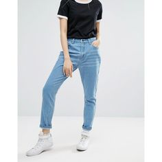 Daisy Street Mom Jeans (59 AUD) ❤ liked on Polyvore featuring jeans, blue, high-waisted jeans, relaxed fit tapered leg jeans, relaxed fit jeans, highwaist jeans and slim fit jeans
