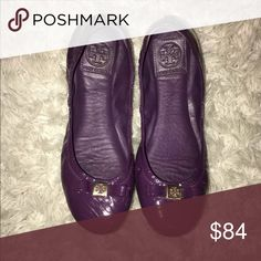 Tory burch purple flats with bow 100% authentic Purple shiny material  Comfy Great condition Tory Burch Shoes Flats & Loafers