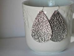 Silver Metallic Crinkle Teardrop Leather Earrings by BaublesbyB