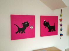 Siepie en Takkie van Jip & Janneke voor op de kinderkamer: afbeeldingen zoeken op internet, uitvergroten, overtrekken en schilderen maar!