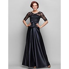 Lanting Bride A-line Plus Size / Petite Mother of the Bride Dress Floor-length Half Sleeve Lace / Satin with Beading / Bow(s) / Lace – USD $ 99.99