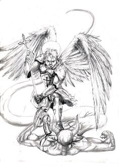 St Michael The Archangel Drawing Statue Tattoo, Demon Tattoo, St. Michael Tattoo, Archangel Michael Tattoo, Dragon Tatoo, Angel Tattoo Designs, Angel Warrior, Religious Tattoos, Ange Demon