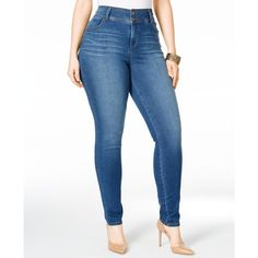 Style & Co. Plus Size Tummy-Control Breeze Wash Skinny Jeans, ($27) ❤ liked on Polyvore featuring plus size women's fashion, plus size clothing, plus size jeans, breeze, denim skinny jeans, super skinny jeans, womens plus size jeans and skinny leg jeans