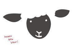 sheep/年賀状イラスト素材・テンプレート「年賀素材館プラス+」印刷素材-年賀状テンプレート「2015未」羊のアップ2ダウンロード
