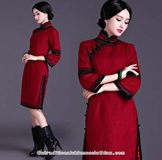 Beaded #floralembroidered silk velvet purple #cheongsamdress