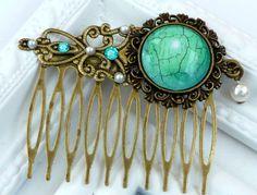 Antiker+Haarkamm+in+grün+bronze+mit+Muschelperle+von+Schmuckdesign-Onlineshop+auf+DaWanda.com