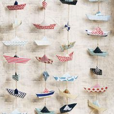 Cute Kids Crafts, Diy And Crafts, Moldes Para Baby Shower, Origami Boat, Paper Crafts Origami, Origami Garland, Paper Stars, Boy First Birthday, Diy Party Decorations