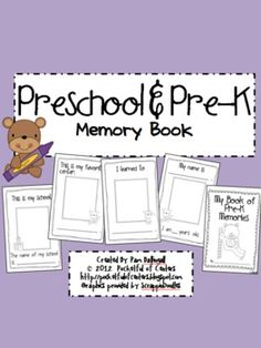 This book will become a treasured keepsake for your Pre-K or Preschool kiddos! The children will illustrate and color each page. The pages are hal. Preschool Memory Book, Preschool Books, Preschool Classroom, Toddler Preschool, Preschool Education, Preschool Ideas, Learning Activities, Classroom Ideas, Kindergarten