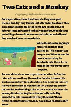 This is the story of two cats and a monkey for kids to read online. Read the full story from the link above. Urdu Stories For Kids, Small Stories For Kids, Stories With Moral Lessons, English Moral Stories, Short Moral Stories, English Stories For Kids, Moral Stories For Kids, Learning English For Kids, English Story