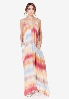 Malibu Mila Maxi #billowy #dress #maxi #maxi-dress #spaghetti-strap #tie-dye #tie-dye-dress #tiedye