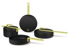 Hook pans by Karim Rashid for TVS.  Finally Rashid creates something with a different design vocabulary that can be called decent design. It took him long enough to create something good!