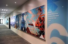 some sort of mural on the wall? Office Wall Design, Office Mural, Corporate Office Design, Office Branding, Corporate Interiors, Office Wall Art, Office Interiors, Signage Design, Booth Design
