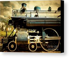 Vintage Steam Locomotive 5d29112brun Canvas Print / Canvas Art by Wingsdomain Art and Photography  wingsdomain steam stream train stream trains steam locomotive steam locomotives steam engine steam engines engine transportation transportation train trains old train old trains locomoti…