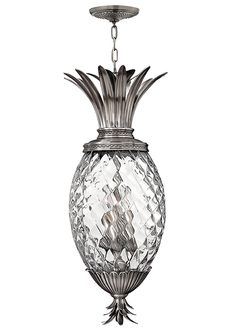 Plantation 2222PL. 4 lt indoor lantern with a pineapple shaped glass Polished Antique Nickel decorative finish. Suitable in a sheltered but damp location.