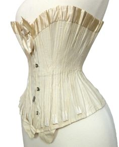 a6b245034a White corset c. 1900 from the Royal Worcester Corset Company. Satin binding  and bow. Bust and hip gussets. Antique Clothing