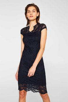 Esprit - Etui-Kleid aus Spitze mit Stretchkomfort Chiffon, Komplette Outfits, Models, Formal Dresses, Fashion, Complete Outfits, Floral Lace, Wiggle Dress, Boutique Online Shopping