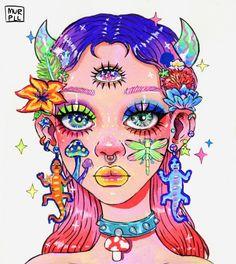 Indie Drawings, Psychedelic Drawings, Art Drawings Sketches, Girl Drawings, Drawing Girls, Crazy Drawings, Arte Indie, Indie Art, Hippie Painting