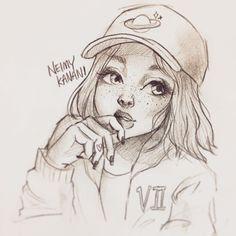Fur-frauen com beautymakel bilden makeup naila Girl Drawing Sketches, Pencil Art Drawings, Cool Art Drawings, Beautiful Drawings, Cartoon Drawings, Cartoon Art, Character Drawing, Drawing People, Cute Art