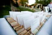 Great idea!!  Could do the individual cards in the corks for the table.  Get a fancy tray to display in.
