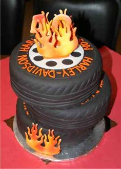 40th Harley cake - 3 eight inch rounds covered with fondant and marked like tires.
