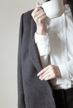 white shirt & grey blazer #style #fashion #workwear