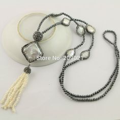 Trendy ~ 4Pcs Hematite Chains Pave Rhinestone Pearl Tassels Charms Necklace Pendants Jewelry Finding