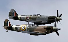Pair of WWII Spitfires - WWII, Spitfire, Aircraft, Military